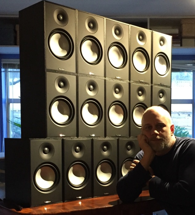 The composer Jordan Nobles with the 'Redshift Array': 16 speaker installation system.